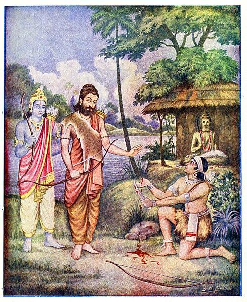 Eklavya cuts and gives his thumb to his Guru