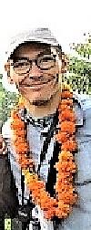 Sylvain at Haridwar - walking