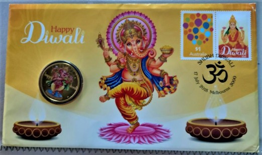 Diwali Postal and Numismatic Cover 2018 Australia - front