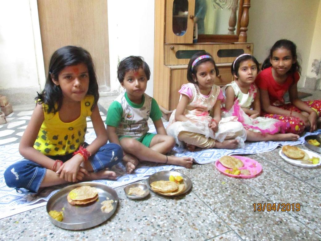 Ram Navami April - children being served at AZIMVTH.
