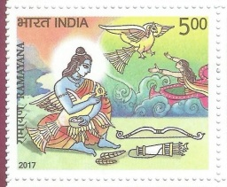 Ramayana - 5 of 11 - Rama Nursing Jatayu Who Valiantly Tries Protecting Sita - the Story of Lord Rama in 11 Postage Stamps 2017
