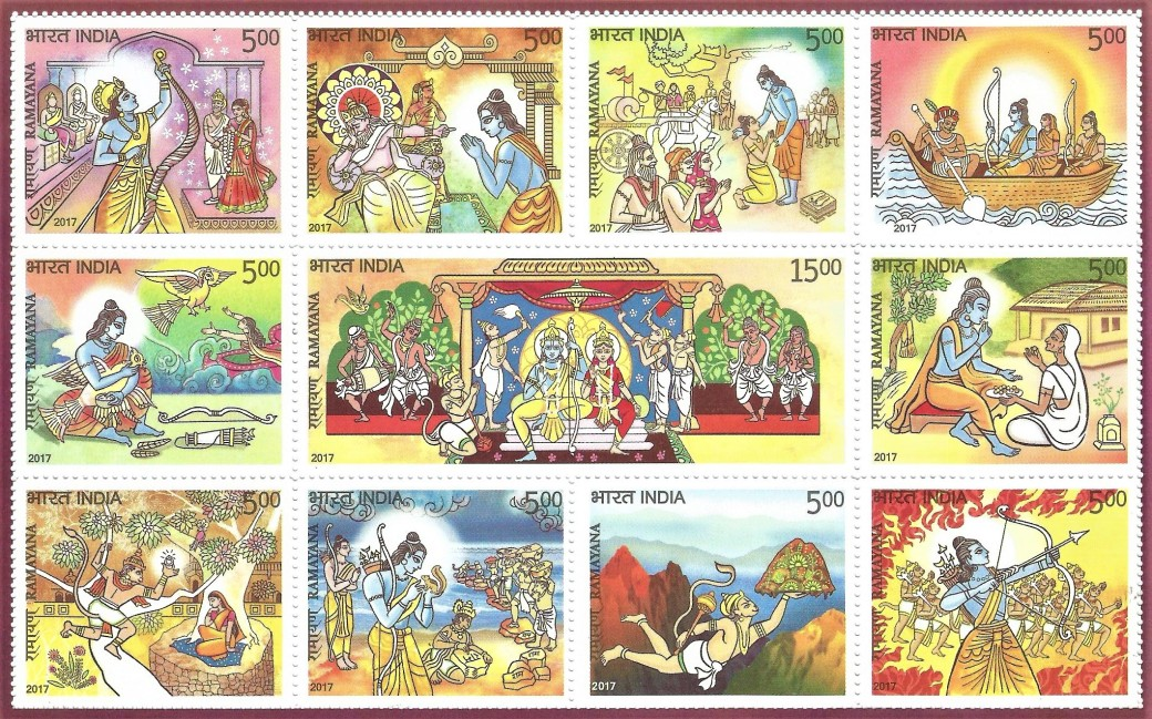 Ramayana - the Story of Lord Rama in 11 Postage Stamps 2017