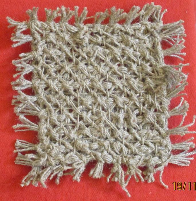 Knitting - square mat of jute rope
