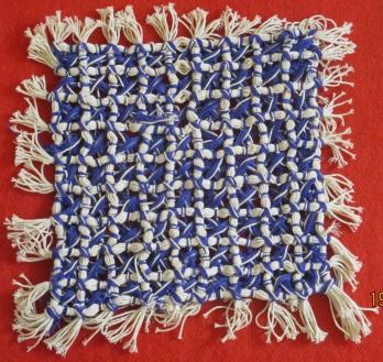 Knitting - square mat of twine