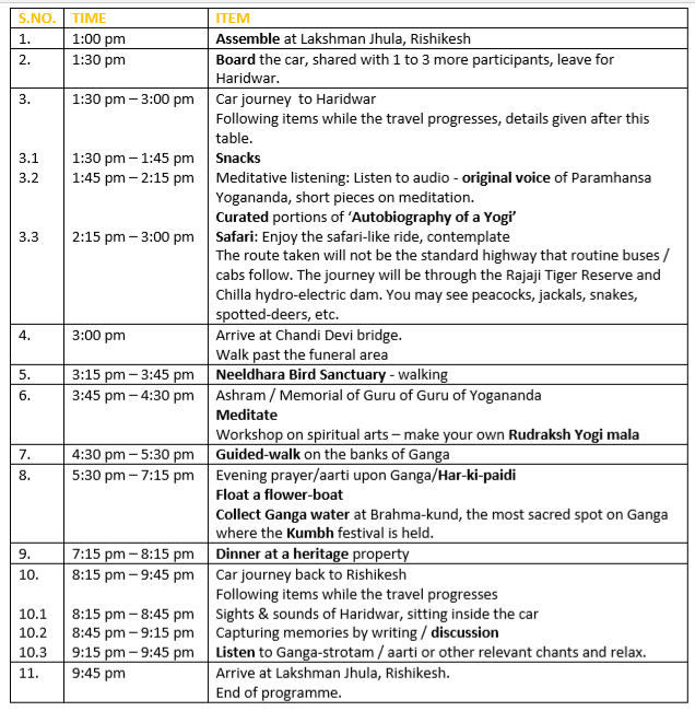 Itinerary - Saturdays with Haridwar