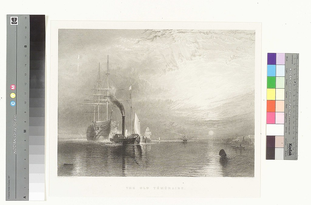 Turner_1845 engraving by James Tibbits Willmore correcting the painting by putting the mast of the tug before its smokestack