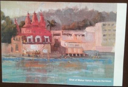 3 Ghat of Makar Vahini Temple Haridwar - Card - front Kumbh AZIMVTH Ashram
